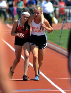 Meghal Vogel carrying another runner