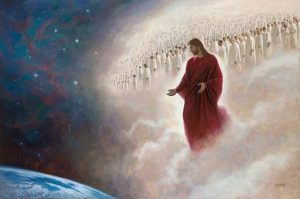 Image of resurrected Christ returning to save the world. Host of heaven is behind Him.
